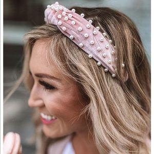 Velvet Pink Pearl Headband